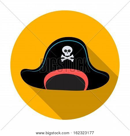 Pirate hat with skull icon in flat style isolated on white background. Pirates symbol vector illustration.