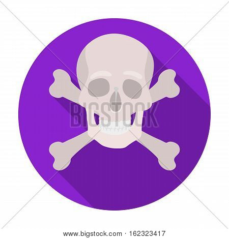 Pirate skull and crossbones icon in flat style isolated on white background. Pirates symbol vector illustration.