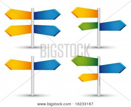 Set with direction sign. Vector
