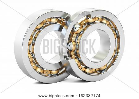 Ball bearings cutaway. 3D rendering isolated on white background