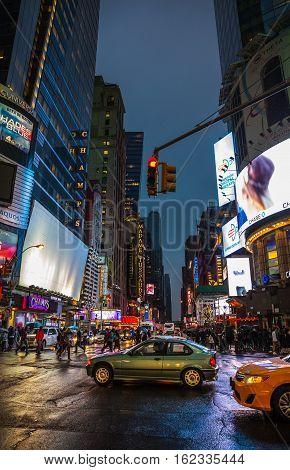 Lights Of Advertising On Streets Of Manhattan