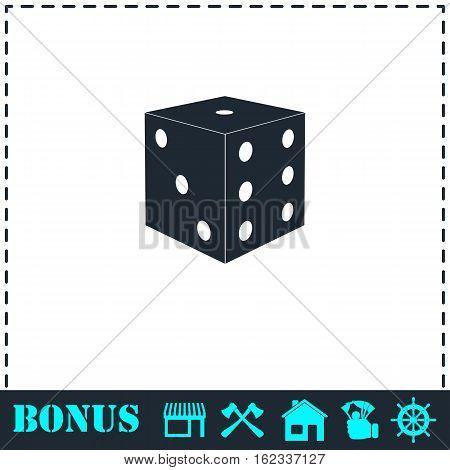 Dice icon flat. Simple vector symbol and bonus icon