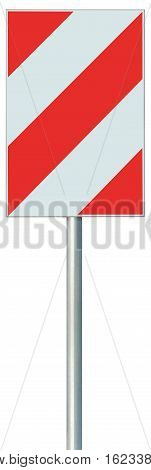 Obstacle detour barrier road sign on pole post, red, white diagonal striped vertical traffic safety warning signage, large detailed isolated closeup