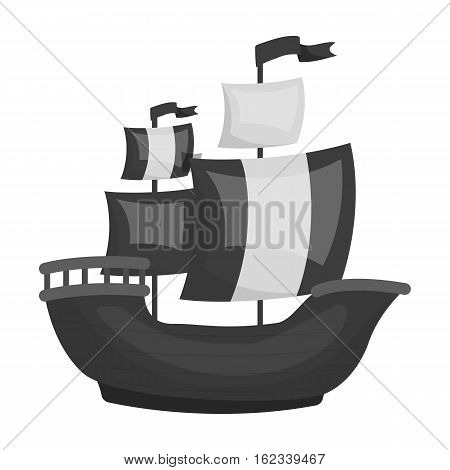 Pirate ship icon in monochrome style isolated on white background. Pirates symbol vector illustration.