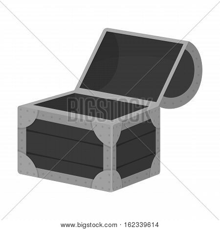 Pirate wooden chest icon in monochrome style isolated on white background. Pirates symbol vector illustration.