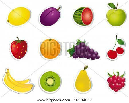 Fruit on stickers. Vector