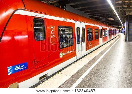 Commuter Train Waits At The Munich Railway Station Karlsplatz