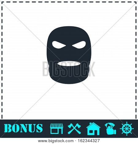 Mask icon flat. Simple vector symbol and bonus icon
