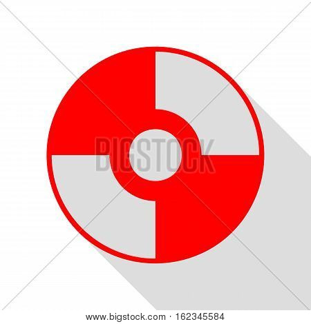 Vector Cd Or Dvd Sign. Red Icon With Flat Style Shadow Path.
