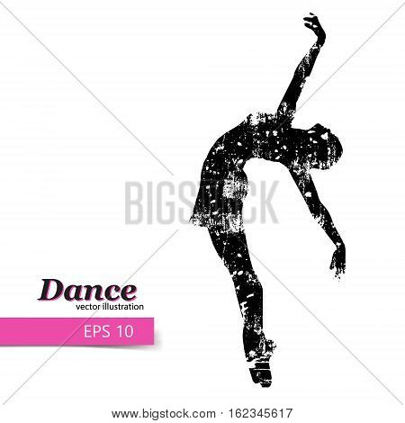 Silhouette of a dancing girl. Background and text on a separate layer, color can be changed in one click.