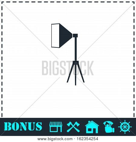 Studio lighting icon flat. Simple vector symbol and bonus icon