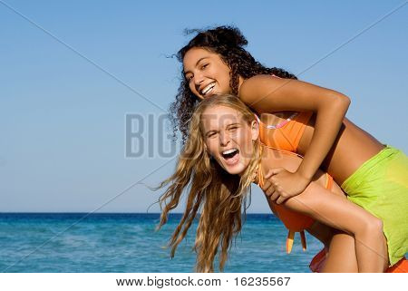 piggyback at beach