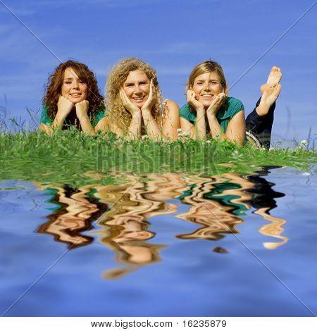 happy family of women