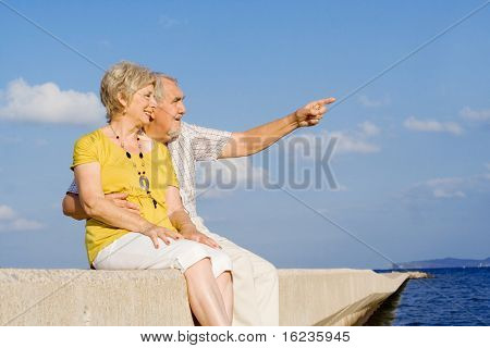 happy senior couple on holidays