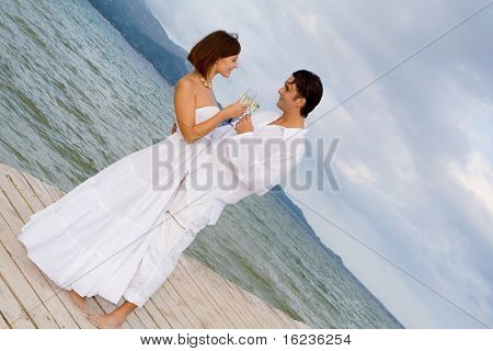 romantic couple toasting with champagne