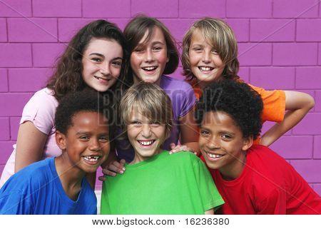 happy group kids