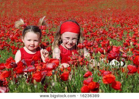 sisters in flower field