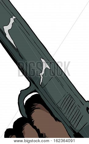 Close Up On Pistol With Finger On Trigger