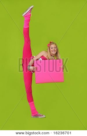 dancer girl with blank sign