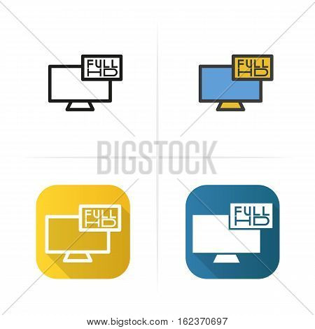 Full HD television icon. Flat design, linear and color styles. Isolated vector illustrations
