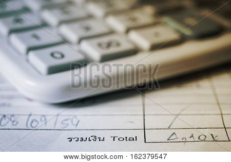 Utility bill with calculator Save money and finance for banking concept filter color style