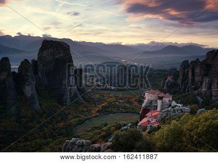 Meteora monasteries after sunset, Greece