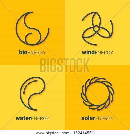 Outline icons of sun, drop, wind power station and leaf as logo with copyspace on yellow background. Idea of eco-friendly source of energy. Renewable energy concept