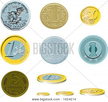 Ten Coins On A White Background