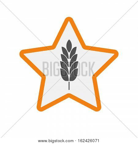 Isolated Star With  A Wheat Plant Icon