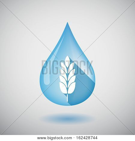 Isolated Water Drop With  A Wheat Plant Icon