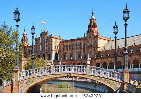 A view of Plaza de España, in Seville, Spain