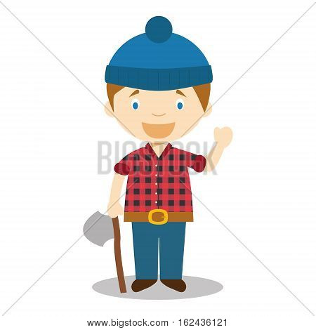 Character from Canada dressed as a woodcutter Vector Illustration. Kids of the World Collection.