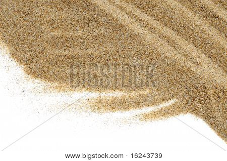 closeup of sand isolated on a white background