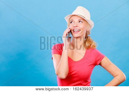 Happy Tourist Blonde Woman Talking Through Phone