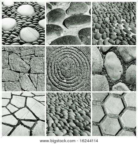 a collage of nine pictures of different stone walls and pavements