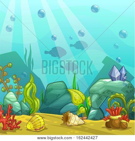 Cartoon underwater vector illustration. Undersea world. Ocean bottom with sand, shells, stones and sea weeds. Aquarium background for game design.