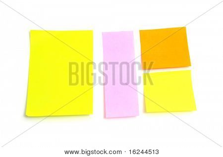 post notes of different colors on a white background