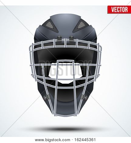 Original Catcher Helmet for Baseball and Softball Games. Sport equipment and gear. Vector Illustration isolated on white background.