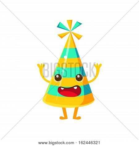 Blue And Yellow Stripy Party Hat, Happy Birthday And Celebration Party Symbol Cartoon Character. Colorful Humanized Birthday Party Associated Element With Arms And Legs.