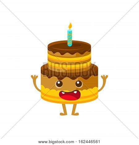 Chocolate Birthday Cake With Candle, Happy Birthday And Celebration Party Symbol Cartoon Character. Colorful Humanized Birthday Party Associated Element With Arms And Legs.