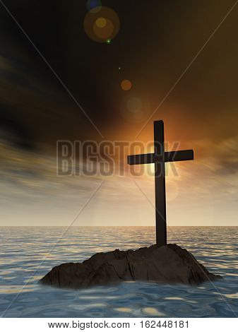 Concept or conceptual 3D illustration christian cross standing on rock in the sea or ocean over beautiful sunset sky