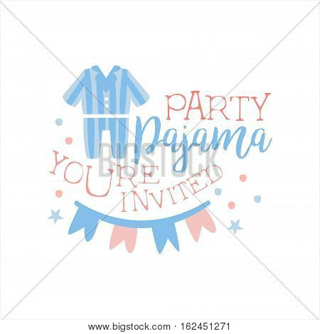 Girly Pajama Party Invitation Card Template With Paper Garland Inviting Kids For The Slumber Pyjama Overnight Sleepover. Stencil For The Welcome Postcard With Night And Bed Symbols In Pastel Colors.