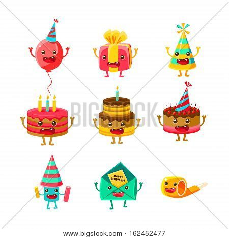 Happy Birthday And Celebration Party Symbols Cartoon Characters Set, Including Cake, Party Hat, Balloon, Party Horn , Fireworks. Colorful Humanized Party Associated Elements With Arms Legs.