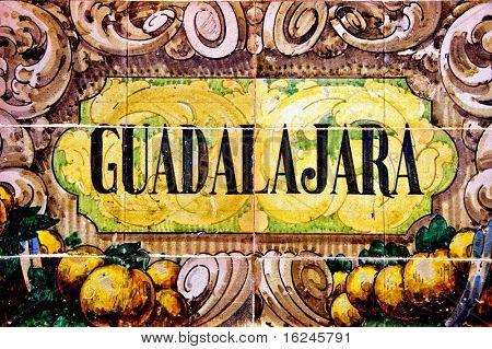 a Guadalajara sign writen in mosaic tiles