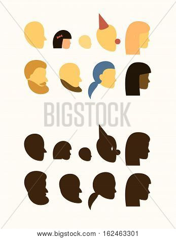 set - silhouette of head - people, withe and black female, male, muslim, beard and mustache, bald and undercut hairstyles, girl, boy, clown, teen, baby, logo, sign on the door of a public toilet, head profile - vector flat avatars isolated on white