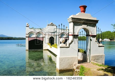 A house over Lake of Banyoles, in Catalonia, Spain