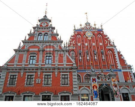 The House of the Blackheads in Riga's historic center, Christmas time in 2016 in Latvia