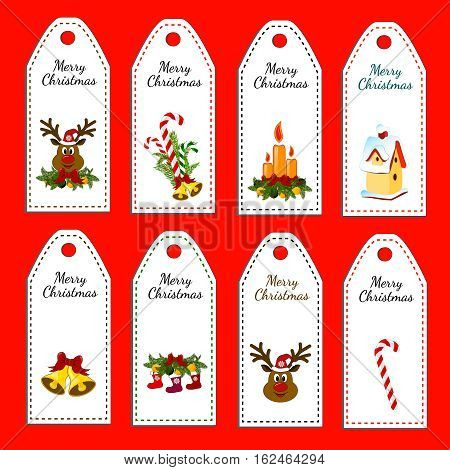 Set of eight vector holiday Christmas labels. Stickers. Card with jingle bells, deer, bird house, lollipop, candle.
