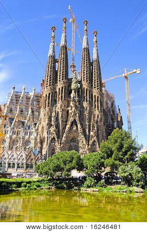 BARCELONA,SPAIN-MAY 15: La Sagrada Familia - the impressive cathedral designed by Gaudi, which is being build since 19 March 1882 and is not finished yet June 19, 2010 in Barcelona, Spain