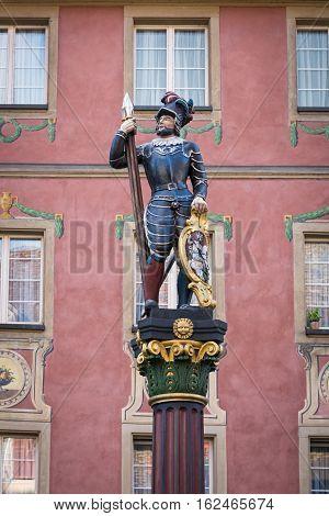 Statue of a warrior decorate the market fountain in Stein am Rhein, Switzerland